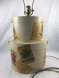 Vintage Metal Vegetable Seed Bags Art Country Lamp 352305 USA 14quot; Guild Master $84.25