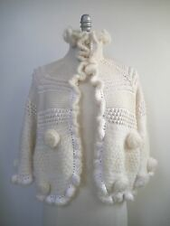 CHANEL ivory cashmere blend knit caplet sweater jacket size 38 40 M WORN ONCE