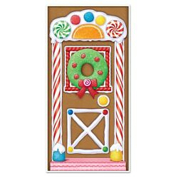 Gingerbread House Door Cover Holidays Christmas Party Decorations Indoor Outdoor