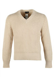 New TOM FORD Off White V Neck Sweater Size 48  38R U.S. In Cotton Cashmere S...