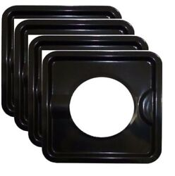 HEAVY DUTY BLACK STEEL SQUARE REUSABLE DRIP PAN GAS BURNER BIB LINER COVERS BN24