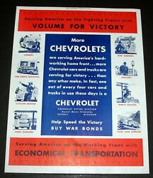 1944 OLD WWII MAGAZINE PRINT AD CHEVROLET SERVING AMERICA ON FIGHTING FRONT!