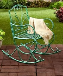 ANTIQUE JADE GREEN OUTDOOR METAL ROCKER CHAIR PORCH PATIO DECK HOME DECOR