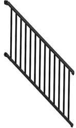 Aluminum Stair Railing Kit Black Indoor Bracket Outdoor Spindle Safety Gate