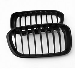 Single Slat Front Grille Cover Matte Black ABS 2Pcs For BMW 1 Series F20 15-16