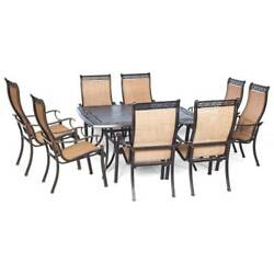 Hanover MANDN9PCSQ Manor 9-Piece Aluminum Framed Outdoor Dining Set with Umbrell