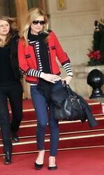 Chanel 10C Red Black Cashmere Sweater Cardigan Jacket NEW 42 Classic RARE NWT