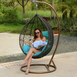 Outdoor Handmade Rattan Hanging Proch Wicker Swing Chair Free Cover Blue Cushion