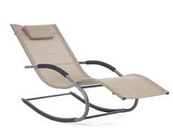 LUCKUP Outdoor Recliner Pool Chaise Patio Rocking Wave Lounger Chair with Pillow