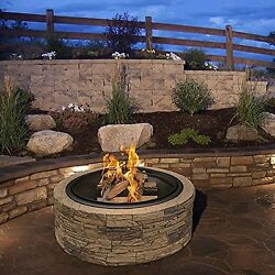 Stone Fire Pit Wood Burning Round Firepit Fireplace Outdoor Patio Garden Heater