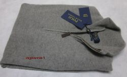 $398 POLO RALPH LAUREN 100% cashmere Italian Yarn  half zip SWEATER L Gray