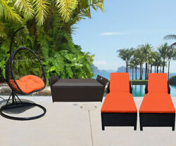4PC Outdoor Patio Wicker Furniture #4 Egg Shape Swing Chair Sun Bed Storage Box