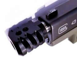 COMPENSATOR BLACK FOR GLOCK MODELS 43 43X AND 48 1 2 x 28 thread 9MM $39.95