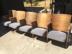 Vintage Theater Seats Five Chairs Fold Down Modern Bench Row Original Wood Iron