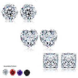 Stud Earrings Heart Square Round Clear Red Pur Black CZ 3 - 10MM Stainless Steel