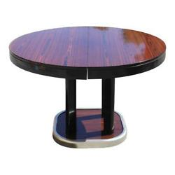 French Art Deco Macassar Round Dining Table With Built In Extension Leaf AS IS.