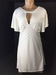 Womens Society Girl Party Dress Short Sleeves Size Small White Y Neckline NEW $19.99