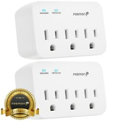 Fosmon 3 Outlet Surge Protector Multi Plug Wall Adapter Tap 1200J ETL Listed $14.99