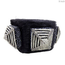 10.5ct Real Diamond Pave Sterling Silver Leather Cuff Bracelet 14k Gold Jewelry