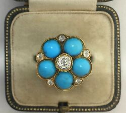 A Wonderful Old Mine Cut Diamond & Turquoise Cluster Ring Circa 1800's