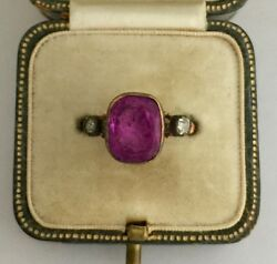 A Stunning Georgian Carved 3.5ct Amethyst Intaglio & Rose Cut Diamond Ring 1800s