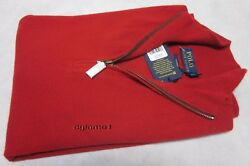 $398 POLO RALPH LAUREN 100% cashmere Italian Yarn  half zip SWEATER S  Red