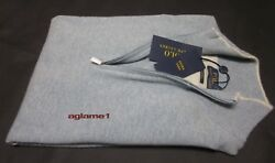 $350 POLO RALPH LAUREN 100% cashmere Italian Yarn half zip SWEATER S light blue
