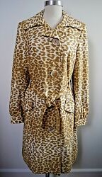 NEW TULEH leopard print belted trench coat size 12