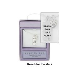 Necklace in A Gift Box Tag with Diamante Details & Reach for the Stars Message