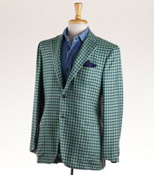 NWT $7495 KITON Green and Teal Blue Check 100% Cashmere Sport Coat 40 R (Eu 50)