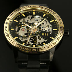 ESS Mens Watch Mechanical Black Dial Stainless Steel Case Analog Skeleton Luxury $25.99
