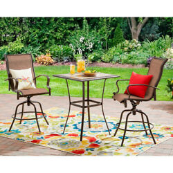 3 Piece Bar Set Counter Height Outdoor Patio Furniture All Weather Fabric Brown