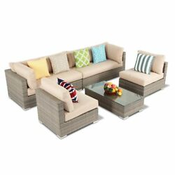 Outdoor 5Pcs Sectional Patio Rattan Wicker Corner Sofa Table Couch Set Furniture