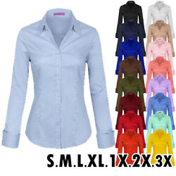 KOGMO Women#x27;s Solid Long Sleeve Button Down Office Blouse Dress Shirt S 3X
