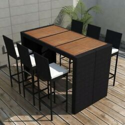Patio Dining Set Bar Counter Height Table and Chairs Outdoor Rattan Furniture