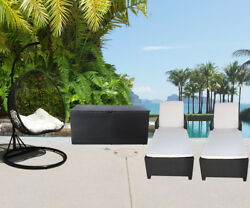 4PC Outdoor Patio Wicker Furniture #1 Egg Shape Swing Chair Sun Bed Storage Box