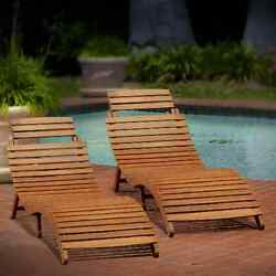 Outdoor Chaise Lounge Set of 2 Wood Folding Recliner Patio Chair Pool Furniture