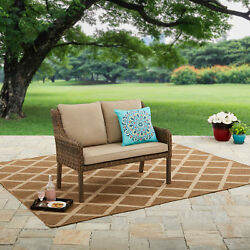 Outdoor Garden Bench With Seat And Back Cushions Porch Loveseat Patio Furniture