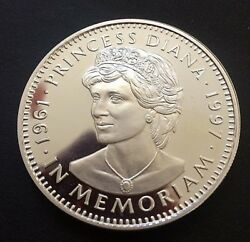 LIBERIA PROOF SILVER COIN COMMEMORATING PRINCESS DIANA 1961-97 with PORTRAIT $49.95