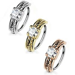 PRONG SET CZ CENTER NOSE CARTILAGE RING HOOP PIERCING JEWELRY (20g18g) $7.00