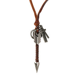 Vintage Arrow Cross Men#x27;s Pendant Necklace with Brown Leather Cord Adjustable $7.99