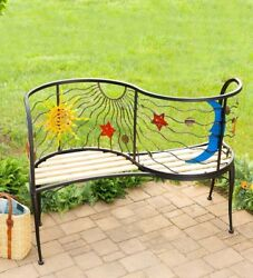 Garden Bench Curved Back Patio Yard Deck Seating Decor Iron Metal Wood Benches