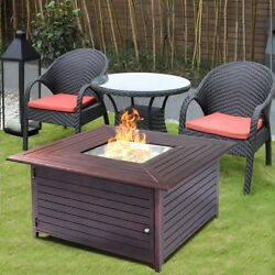 Giantex Fire Pit Table Aluminum Frame Outdoor Propane Gas Table Stove Furniture
