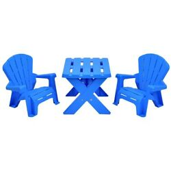 Costzon Kids Plastic Table and 2 Chairs Set Adirondack Chair Patio Activity Cr