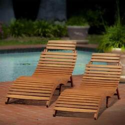 Outdoor Acacia Wood Chaise Lounge Set Of 2 Folding Backyard Patio Garden Lounger