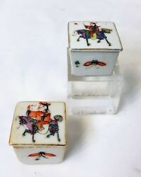 2 Antique Chinese Porcelain Salt Box Cellars Horse Riders Do Guong or Similar