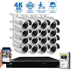 16 Channel NVR 4K 8MP 3840 x 2160p Outdoor IP POE Bullet Security Camera System