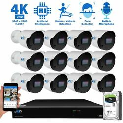 16 Channel 4K 8MP 3840x2160p NVR 12 Outdoor IP POE Bullet Security Camera System