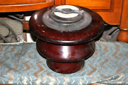 HUGE Antique Insulator Glass Pottery Brown Color Steampunk Electrical Railroad $109.99