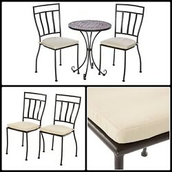 Wrought Iron Bistro Set 3 Piece Round Patio Furniture Outdoor With Cushions New